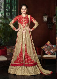 Brown with Sequins Work Incredible Unstitched Salwar Kameez