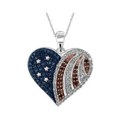/ CT. T.. Round-Cut Multicolor Diamond Prong Set American Flag Heart... ($110) ❤ liked on Polyvore featuring jewelry, pendants, white, sterling silver heart pendant, diamond heart bracelet, sterling silver bracelet, white bracelet and heart shaped diamond pendant