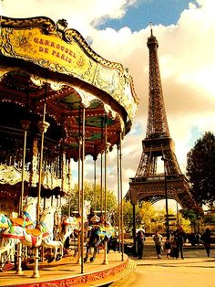 Nothing less than perfect:  A Carousel, near the Eiffel Tower, in Paris, France.  C'est Magnifique!!!