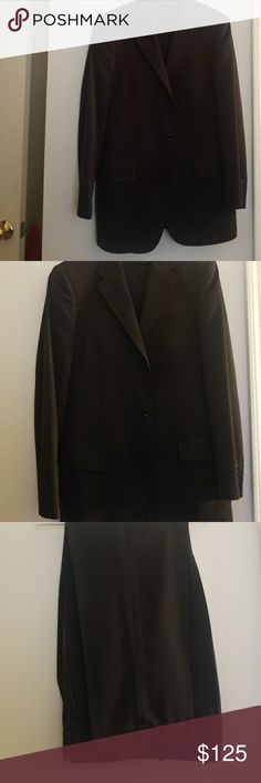 Textured striped Black Suit Black suit with textured stripes. Has been tailored to fit a 32W 32L bottom and 39 regular top lineage Suits & Blazers Suits