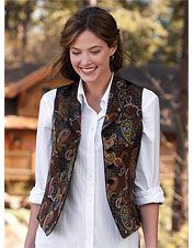 Our sleeveless vest for women has a high neck shawl collar and paisley tapestry pattern. Vest Outfits For Women, Casual Blazer Women, Edwardian Clothing, Coats For Women, Clothes For Women, Blouse And Skirt, Paisley, My Style, White Tunic