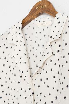 Folded Neckline Blouse, Ivory