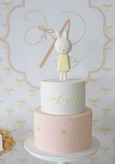 Abigail's christening styled by One lovely Day, cake and sweet by Hello Naomi (cute miffy theme) Más Cute Cakes, Pretty Cakes, Beautiful Cakes, Amazing Cakes, Bolo Miffy, Miffy Cake, Fondant Cakes, Cupcake Cakes, Birthday Cake Girls