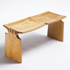 David Ebner TWO-SEATED BENCH incised DNE 99 pau amarello wood 16 1/2 x 35 3/4 x 13 1/4 in. (41.9 x 90.8 x 33.7 cm) 1999