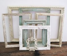 antique white picture frame set of 7 shabby chic