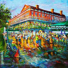 Cafe du Monde FREE SHIPPING!  Jackson Square, New Orleans French Quarter Art, New Orleans Art, New Orleans Artist Dianne Parks
