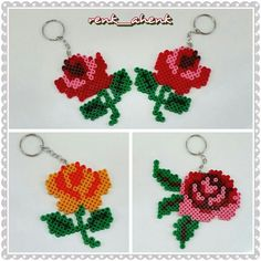 Rose keychains hama perler beads by renk__ahenk