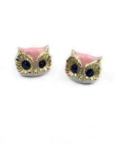 Pink Owl Earrings.