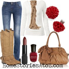 fall outfit ideas - jeans with white shirt. Pops of color from beige and red accessories.