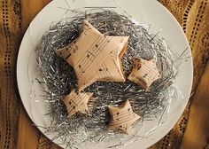 craft music origami paper stars - great for apothecary jar filler Christmas Love, Christmas Holidays, Christmas Decorations, Xmas, Christmas Ornaments, Christmas Ideas, Music Ornaments, Star Decorations, Folded Paper Stars