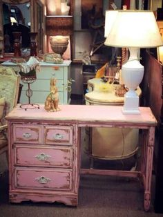 Tickled Pink desk by Farmhouse Paint.  Www.Farmhousepaint.com
