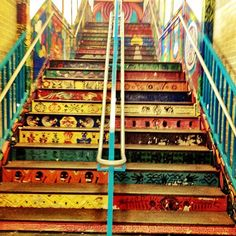 Chicago L-Train Stop. Stairs to the Pink Line on 18th St. in Pilsen. Pilsen is a Mexican neighborhood that is slowing seeing signs of gentrification. It is a neighborhood where the people are very proud of their heritage.