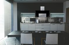 The Wave White glass range hood has a simple yet stunning contemporary design, showcasing gently sloping curves and beautifully frosted glass. Black Walls, White Walls, Black Range Hood, Kitchen Hoods, Range Hoods, Steel Wall, Contemporary Design, Wave, Glass