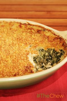 Michael Symons creamed greens casserole is to die for! casserole squash and zucchini recipes; The Chew Recipes, Cooking Recipes, Meal Recipes, Pork Recipes, Yummy Recipes, Cake Recipes, Recipies, Thanksgiving Recipes, Holiday Recipes