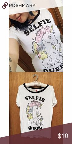 "💋Selfie Queen unicorn tee💋 💄super comfy and silly💄 Selfie Queens, you know you're guilty! Size xs but fits like a small or medium. Brand is ""divided"" sold at H&M💥ALL ITEMS ARE SOLD AS IS💥 H&M Tops Tees - Short Sleeve"