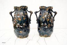 A pair of Antique Edwardian era twin handled vases by Littlemix
