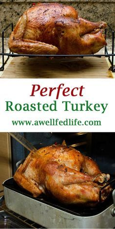 Perfect Roasted Turkey - A Well Fed Life Make perfect roasted turkey with NO Brine. Easy, no-fuss, 3 ingredient recipe will be your go-to roasted turkey recipe for Thanksgiving. Oven Turkey Recipes, Cook Turkey In Oven, Cooking Turkey, Easy Dinner Recipes, Slow Cooking, Yummy Recipes, Dinner Ideas, Classic Thanksgiving Turkey Recipe, Thanksgiving Recipes