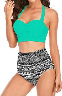 COMFORTABLE WEAR Stretchy fabric, adjustable halter bikini top, full coverage bikini bottom and spe... High Waisted Bikini Bottoms, Bikini Tops, Swimsuits For All, Halter Bikini, Bathing Suits, Bikinis, Swimwear, Fabric, How To Wear