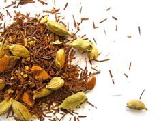 ROOIBOS TURMERIC CHAI- A caffeine free Indian masala chai with a slightly nutty flavour.
