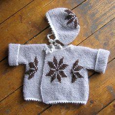 Knitting pattern: Infant's cardigan and bonnet  http://icelandicknitter.com/en/books/icelandic-knitting-using-rose-patterns/