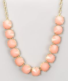 Gold & Pink Round Gems Necklace by Marlyn Schiff