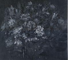 YAN PEI-MING B.1960 FLEURS NOIRES DES FUNERAILLES, SOUVENIR DU PERE DE L'ARTISTE Estimation: 200,000 - 300,000 USD signed, titled and dated 15 Mars 2006 on the reverse oil on canvas 86 5/8 by 98 3/8 in. 220 by 250 cm.