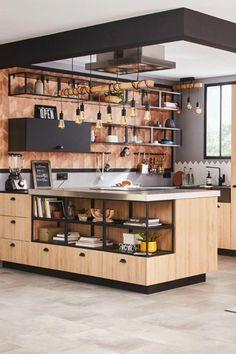 Black industrial kitchen and wood - The Home Decor Trends Kitchen Remodel, Luxury Kitchens, Kitchen Design, Kitchen Dining Room, Kitchen Interior, House Interior, Kitchen Styling, Industrial Style Kitchen, Modern Kitchen Design