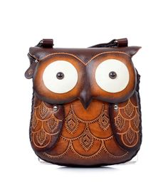Medium Brown Leather Owl Crossbody Handbag Shoulder Purse Material: Genuine Tooled Leather Size: wide and tall and deep, large enough for phone/wallet/keys/etc Strap: Adjustable leather, Ships from USA Brown Leather Purses, Leather Pouch, Vintage Purses, Vintage Handbags, Novelty Handbags, Owl Purse, Owl Bags, Unique Purses, Cheap Handbags