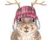 Squirrel PRINT - Watercolor Painting, 8x10 PRINT, Trapper Hat, Canadian, Deer Antlers, Cute Squirrel,