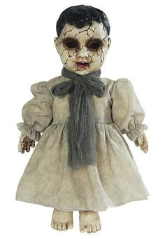Mournful Forgotten Doll Is A Small Babydoll That Has Light-Up Eyes In A Cracked Aged Face. She Has Several Different Sayings When You Push The Press Here Button On Her Chest. Great Addition To Your Haunted Scene! Haunted House Decorations, Scary Halloween Decorations, Spooky Decor, Halloween Kostüm, Baby Halloween Costumes, Baby Costumes, Halloween Express, Baby Dolls, Animated Halloween Props