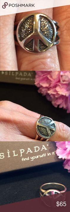 Silpada Sterling Silver Peace Ring Silpada.925 Sterling Silver ✨New in Box PEACE SIGN RING size 6, Retired-rare!! By an Israel ArtisanLimited-Rare Silpada Jewelry Rings