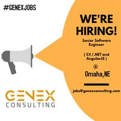 JOB TITLE - Software Engineer ( C# .NET with AngularJS ) LOCATION - Omaha,NE  *Candidate Must Be In United States With Proper Work Authorization. (H1b would be sponsored to OPT/H4 candidates)  #GenexJobs #Job #software #engineer #Hiring #Omaha #OPT #EAD #W2 #Referral #Work #Net #C #Developer #Angular Job Title, Job Opening, Software, Engineering, United States, Technology