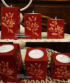 Komplet drewnianych świeczników