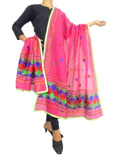 Chanderi Phulkari Dupatta-Dark Pink