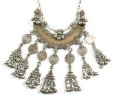 Silk Road Tribal ~ Tribal Jewelry ~ Banjara Crescent Coin Necklace