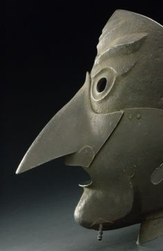 (via Executioner's mask, Europe, 1501-1700)  An executioner is said to have worn this mask before delivering the final blow, with either an axe or sword. It cuts a gruesome figure and is deliberately macabre and menacing to further terrify the prisoner. Executioners often wore masks to hide their identity and avoid any retribution. They were often booed and jeered, especially if the person to be executed was a popular or sympathetic figure.