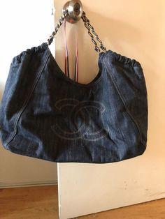 f01a5dda6404 Chanel Coco Cabas Tote / Shoulder Bag- Quilted Chanel CC- Dark Denim Chanel  Bags