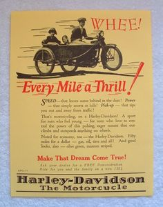 Vintage HARLEY DAVIDSON Motorcycle 1924 POSTER Sign WOW ~ $24. Description from pinterest.com. I searched for this on bing.com/images