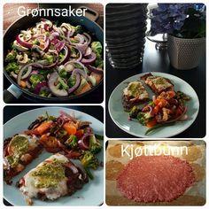 Diet lågkalori pizza meatza recept MyRecipe - Botten 1pkt nötfärs/kycklingfärs/tonfisk/torsk, -- Topping: tomatpuré, lök, sopp, mozzarella ost, pesto og krydder!  Tillbehör en massa goda grönsaker:)
