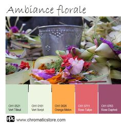 Une délicieuse palette de teintes fleuries pour une ambiance gaie et féminine. www.chromaticstore.com #inspiration #florale #déco Color Combinations, Color Schemes, Collor, Color Balance, Home And Deco, Orange Blossom, Color Pallets, Decoration, House Colors