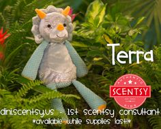 Journey back to a time when dinosaurs were cute, cuddly and ice blue! Meet TERRA - the newest Scentsy Buddy in our family! Terra the Triceratops is here & ready to be snuggled & loved! Know someone who would LOVE Terra? Contact me for details! 1stwickless@gmail.com  #ScentsyBuddy #ScentsyDinosaur #ScentsyTriceratops #DinosaurLove #DinosaurToys #Triceratops #1stScentsyConsultant
