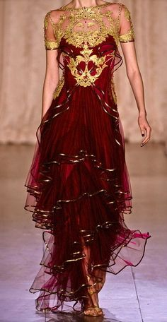 Zuhair Murad ~ I love the red and gold match and the fun skirt