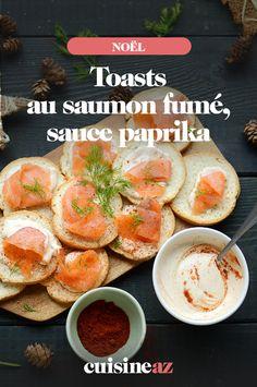 Facile et rapide de préparer ces toasts au saumon fumé, sauce paprika pour l'apéritif de Noël ! #recette#cuisine#toast#aperitif #apero #noel#fete#findannee #fetesdefindannee Toast Noel, Cantaloupe, Fruit, Gourmet, Smoked Salmon, Tapas Recipes