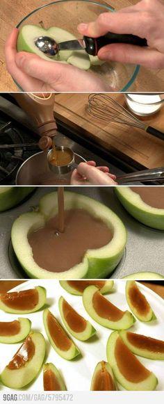 Carmel apple Jell-O shots    I just skipp the cooking/alcohol portion.