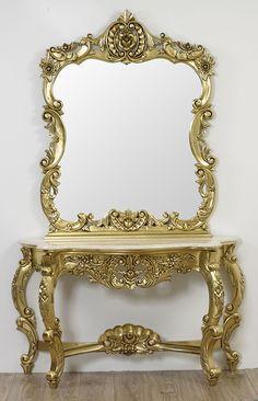 Consolle con specchio stile Barocco Francese foglia oro marmo ...