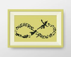 Peter Pan cross stitch pattern, Peter Pan Wendy and Co flying, Instant Download, Never Grow Up,  P089 by NataliNeedlework on Etsy