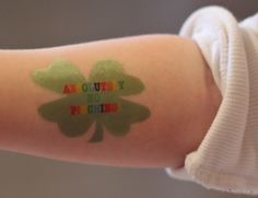 Modern Parents Messy Kids: DIY 4 Leaf Clover Tattoos & Stickers (with Free Printables)