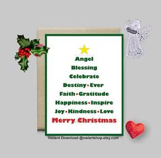 Merry Christmas Blessing greeting Christmas Tree shape with