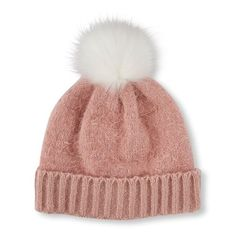 49f726d5f00 Girls Pom Pom Fuzzy Beanie - Pink Hat - The Children s Place Girls Dream  Closet