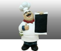 Attrayant Fat Chef Menu Chalkboard Chalk Board Table Top Art Statue